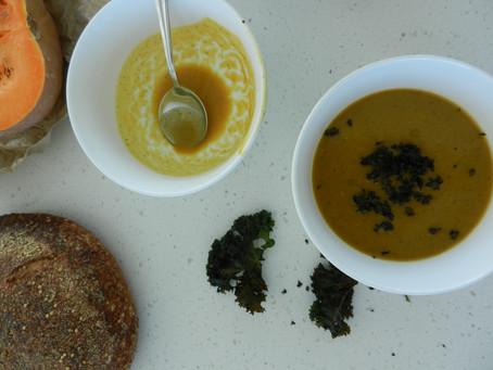 Trio of Squash soup with Kale crisps