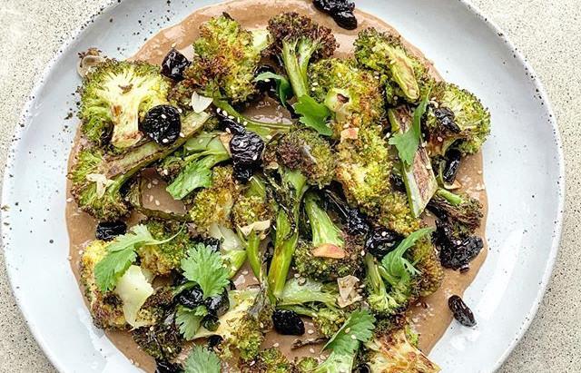 Roasted broccolini with Tahini dressing