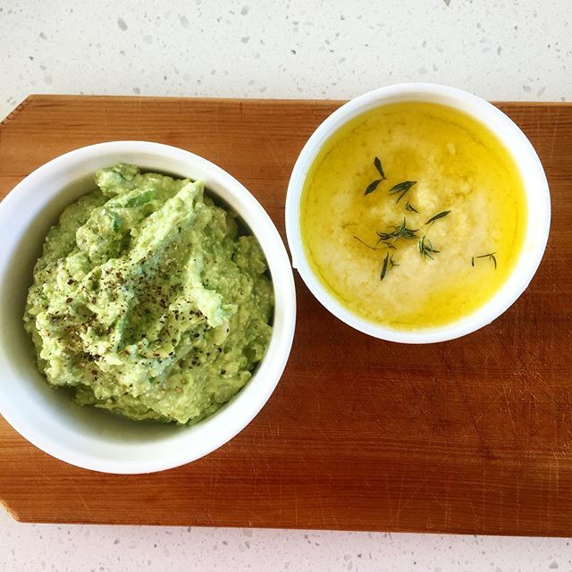 avocado dip with feta and chili and parmesan spread