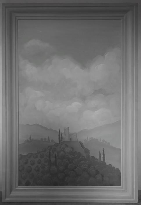 Quadro in grisaille per scenografia de La Traviata. Preggio 2016, acrilico su legno.