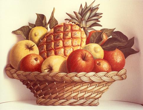 Cesta di frutta, olio su legno.