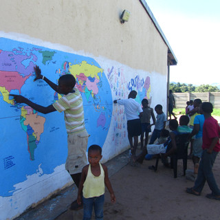 painting a World Map in South Africa