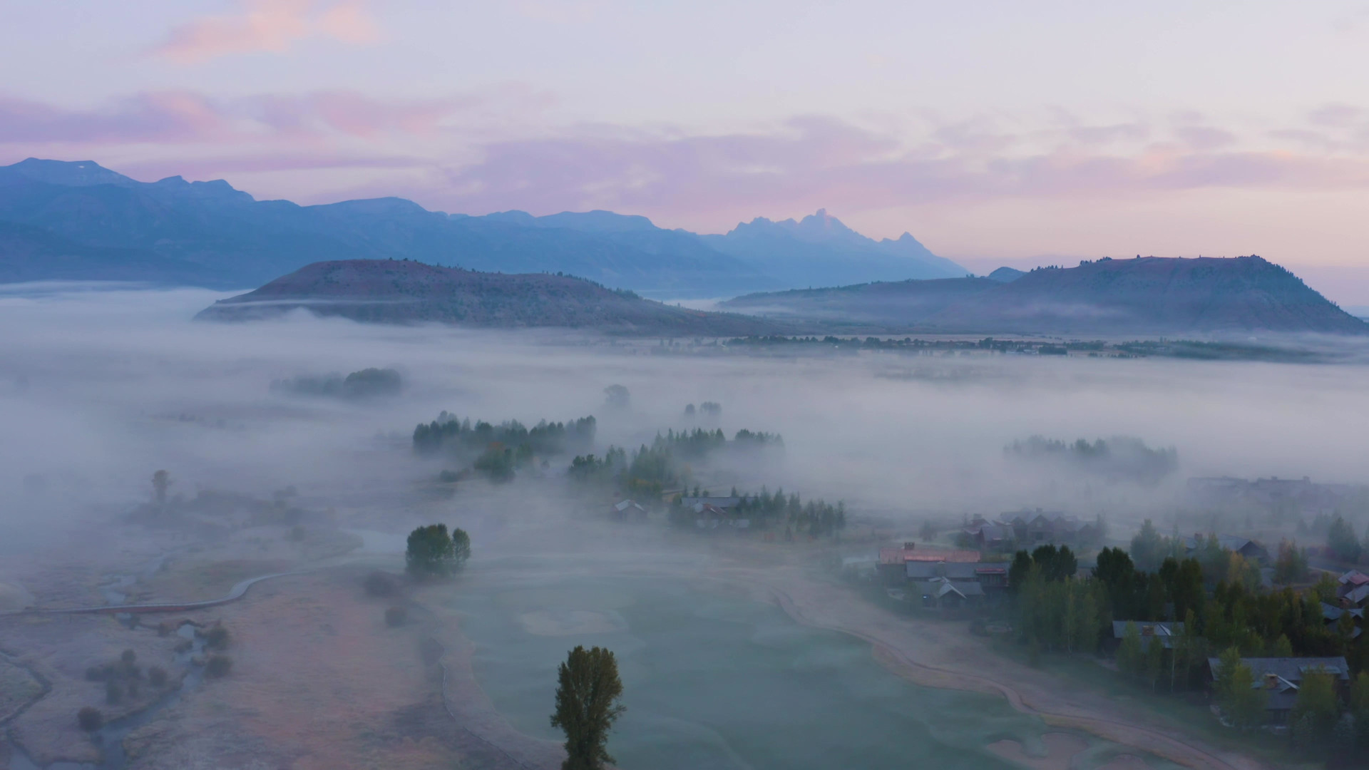Golf Course Early Morning Aerial in the