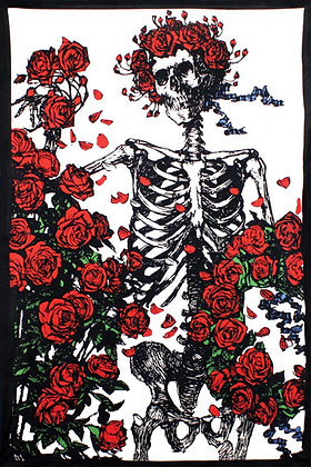 3D Grateful Dead Skeleton & Roses Tapestry 60x90