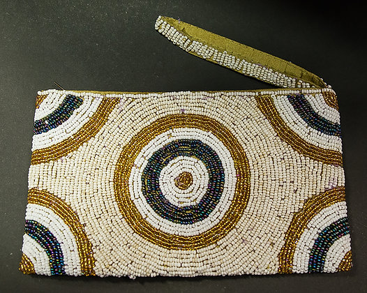 Ivory Circles Beaded Wristlet Clutch