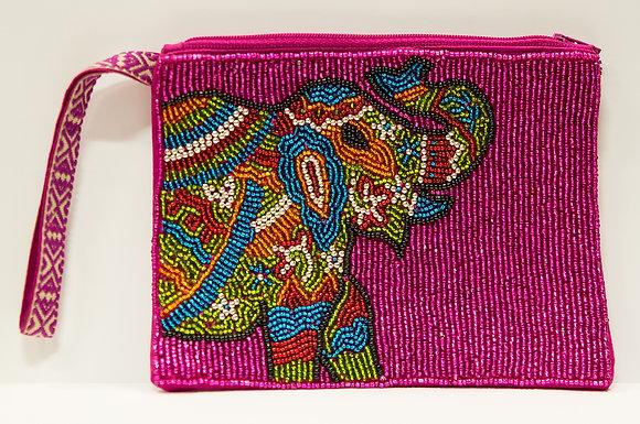 Elephant Beaded Wristlet Clutch -Pink