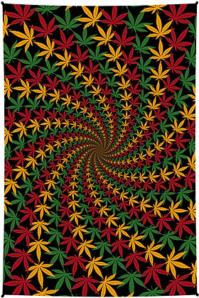 3D Rasta Leaf Spiral Tapestry 60x90