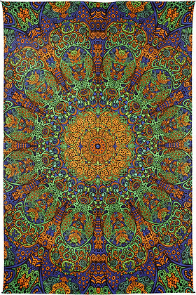 3D Green & Gold Sunburst Tapestry 60x90