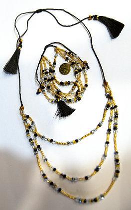 Black Beaded Triple-Strand Necklace & Bracelet Set