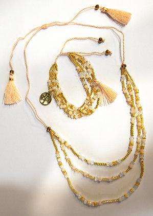 Ivory Beaded Triple-Strand Necklace & Bracelet Set