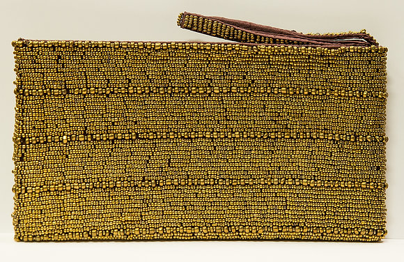 Gold Beaded Wristlet Clutch
