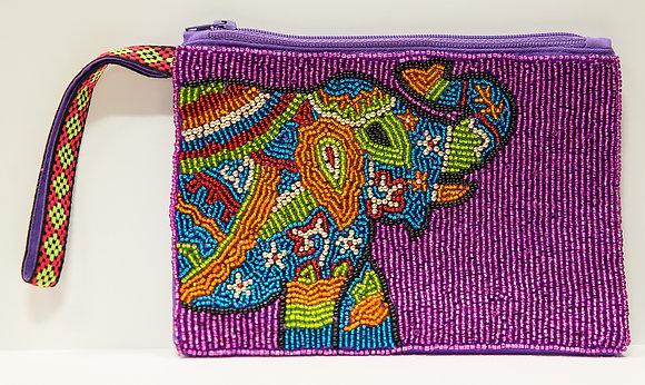 Elephant Beaded Wristlet Clutch - Purple