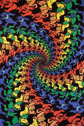 3D Grateful Dead Dancing Bears Spiral Tapestry 60x90