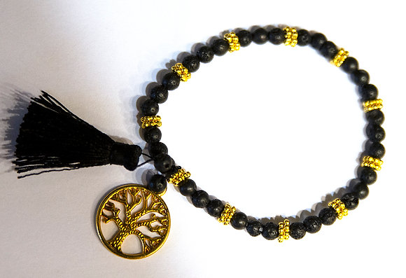 Black and Gold Lava Bracelet with Tassel and Pendant