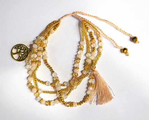 Ivory Beaded 4-Strand Bracelet with Tassle