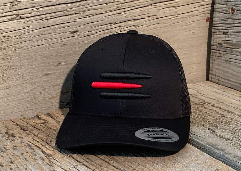 Mesh SnapBack Red Line on Black