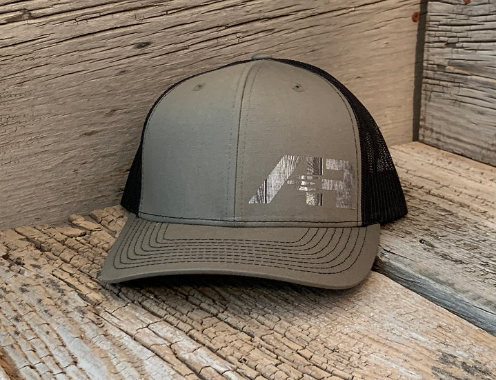Mesh SnapBack Wood on Army Green