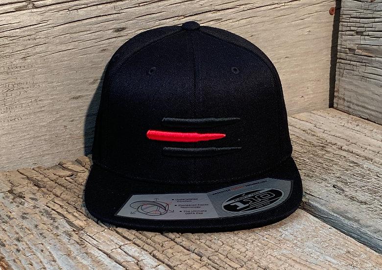 Flat Brim SnapBack Red Line on Black