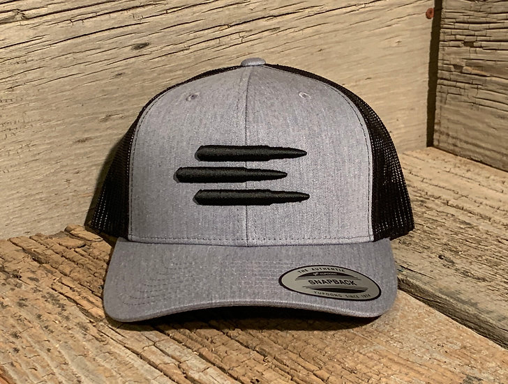 Mesh SnapBack Black on Heather Grey