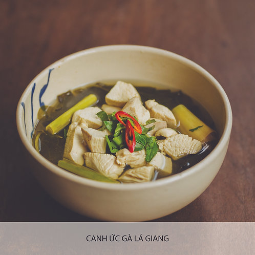 Chicken soup with 'la giang' leaf