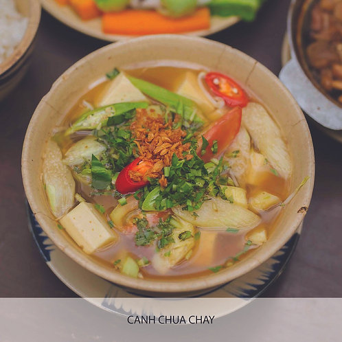 Sweet and sour soup with pineapple, okra, tomato, tofu