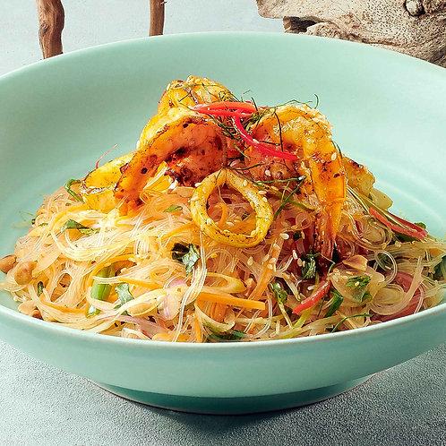 Miến xào tôm sú / Stir-fried glass noodles with tiger prawns and vegetable