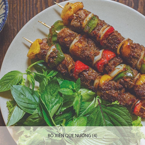 Grilled beef skewers (five spices, satay, honey)
