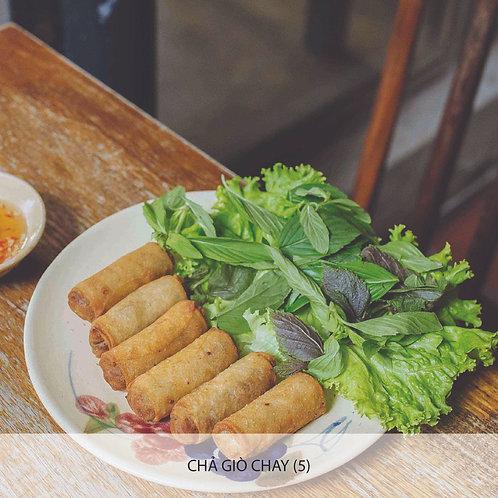 Deep-fried vegetarian spring rolls