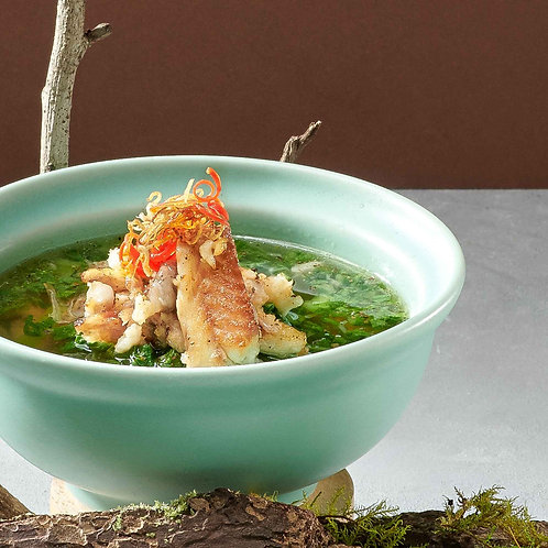 Canh cá Rô cải bẹ xanh/Mustard green leaves soup with anabas fish