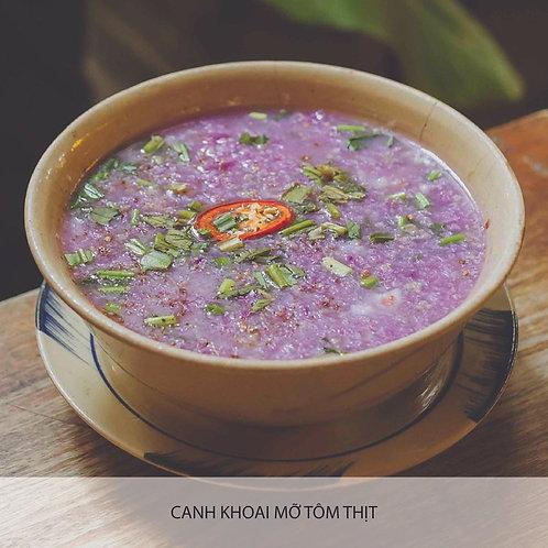 Purple yam soup with pork and prawn