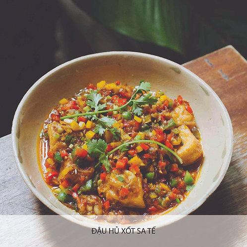 Deep fried home made tofu with satay sauce