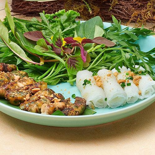 Cá Lăng cuốn mỡ chày/Grilled hemibagrus wrapped in omental fat