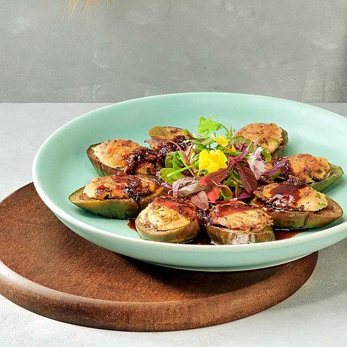Cà tím nhồi nấm hương/Grilled eggplant stuffed in shiitake mushrooms