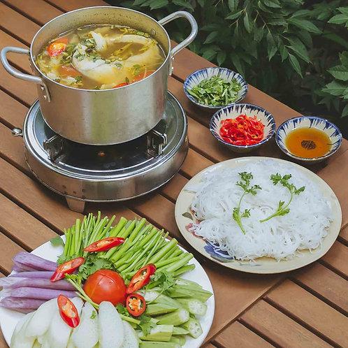 Lẩu cá bớp nấu măng chua / Hot and sour cobia fish and young bamboo shoot hotpot