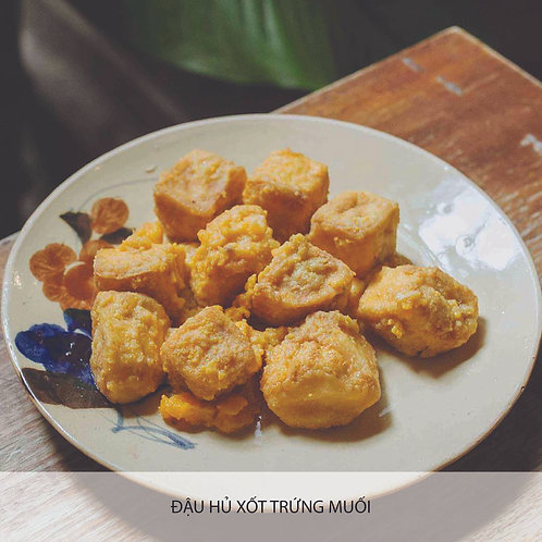 Fried tofu with salted egg sauce