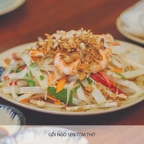 Lotus stem salad with pork and prawn