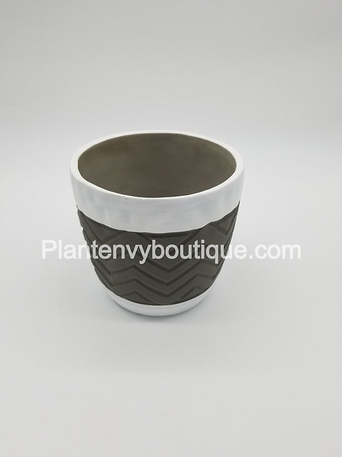 White/Gray Chevron Cement Planter