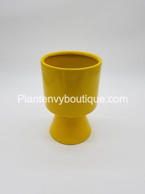 Yellow High Gloss Pedestal Planter