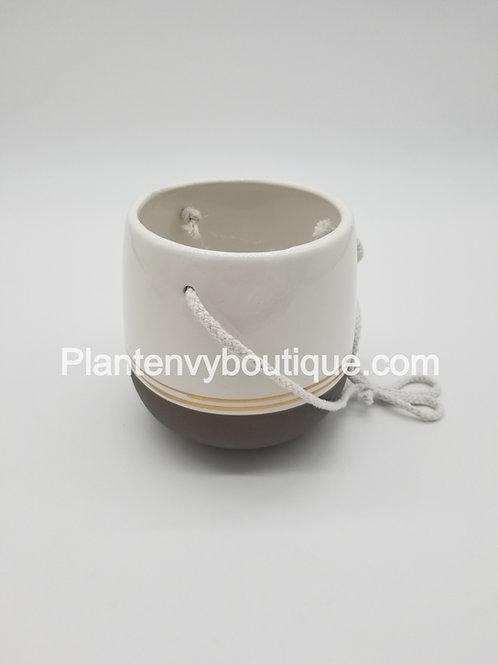 """4"""" Pinstripe Hanging Ceramic Planter"""