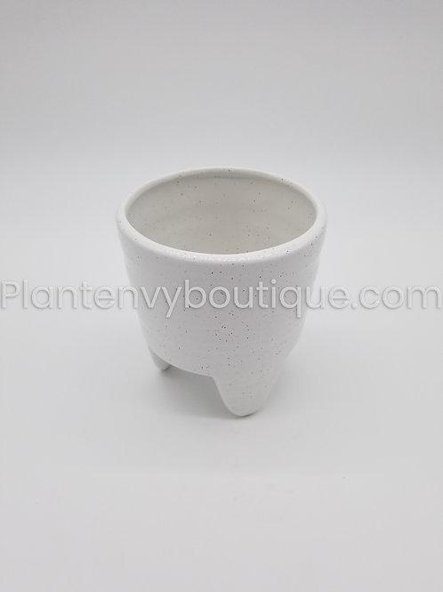 White w/ Black Speckled Ceramic Planter