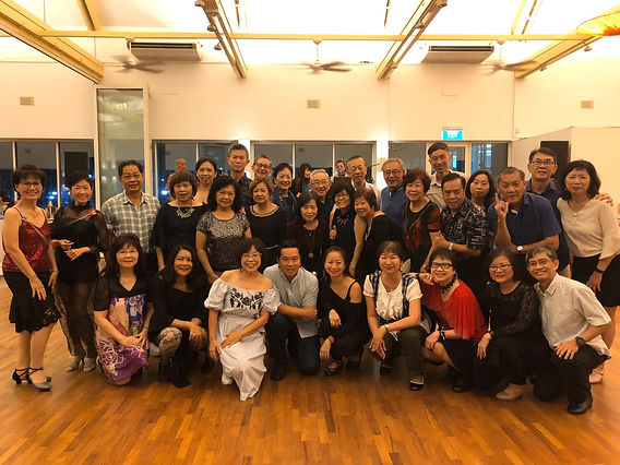 Image of Active Agers gathering together with TDA instructors, Melvin and Sharon