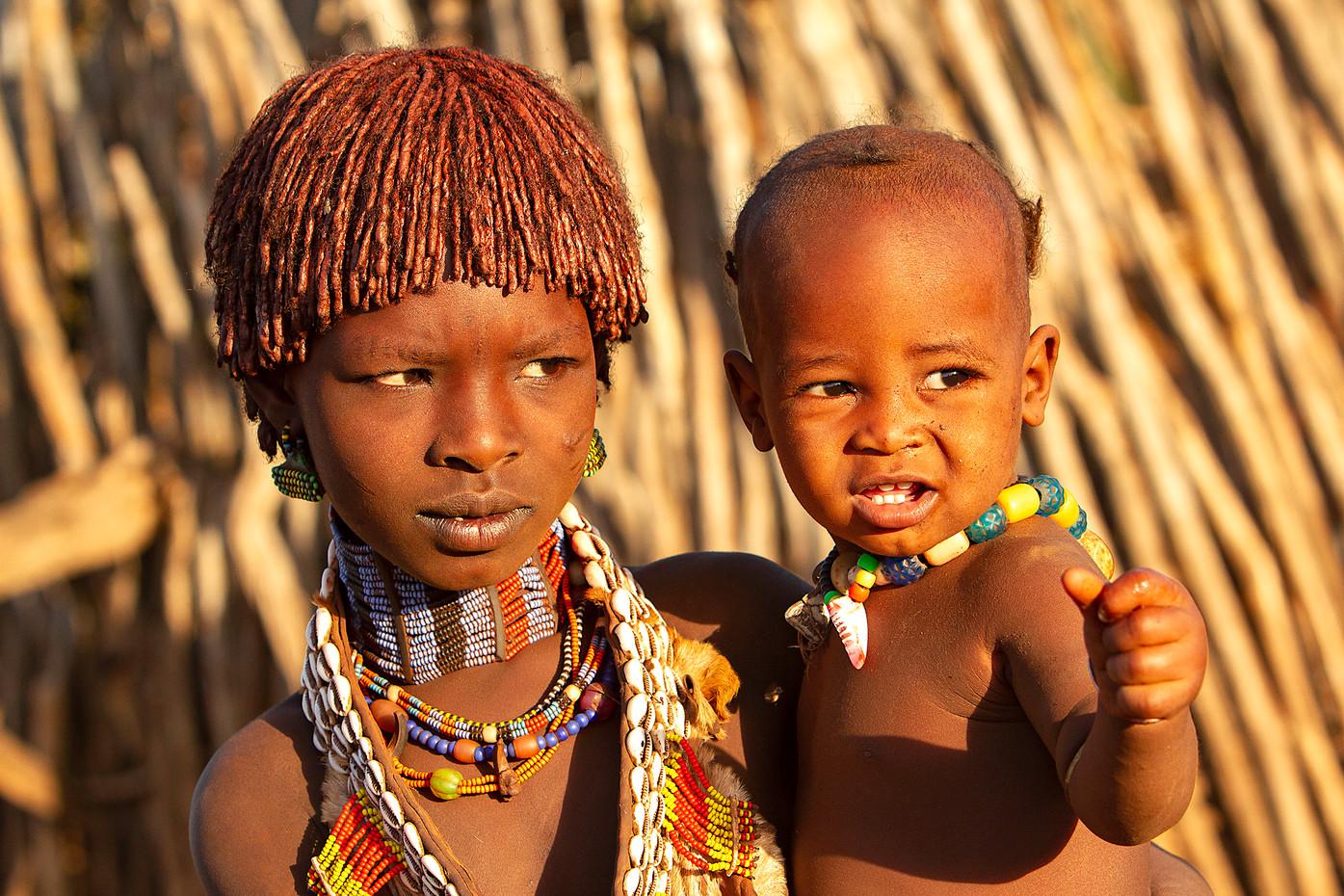 Hamer kids near Turmi, Ethiopia