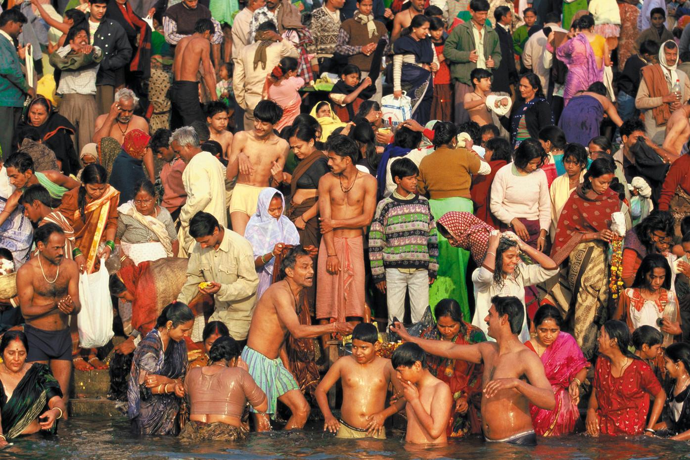 Hindu devotees on the Ganges River in Varanasi, India