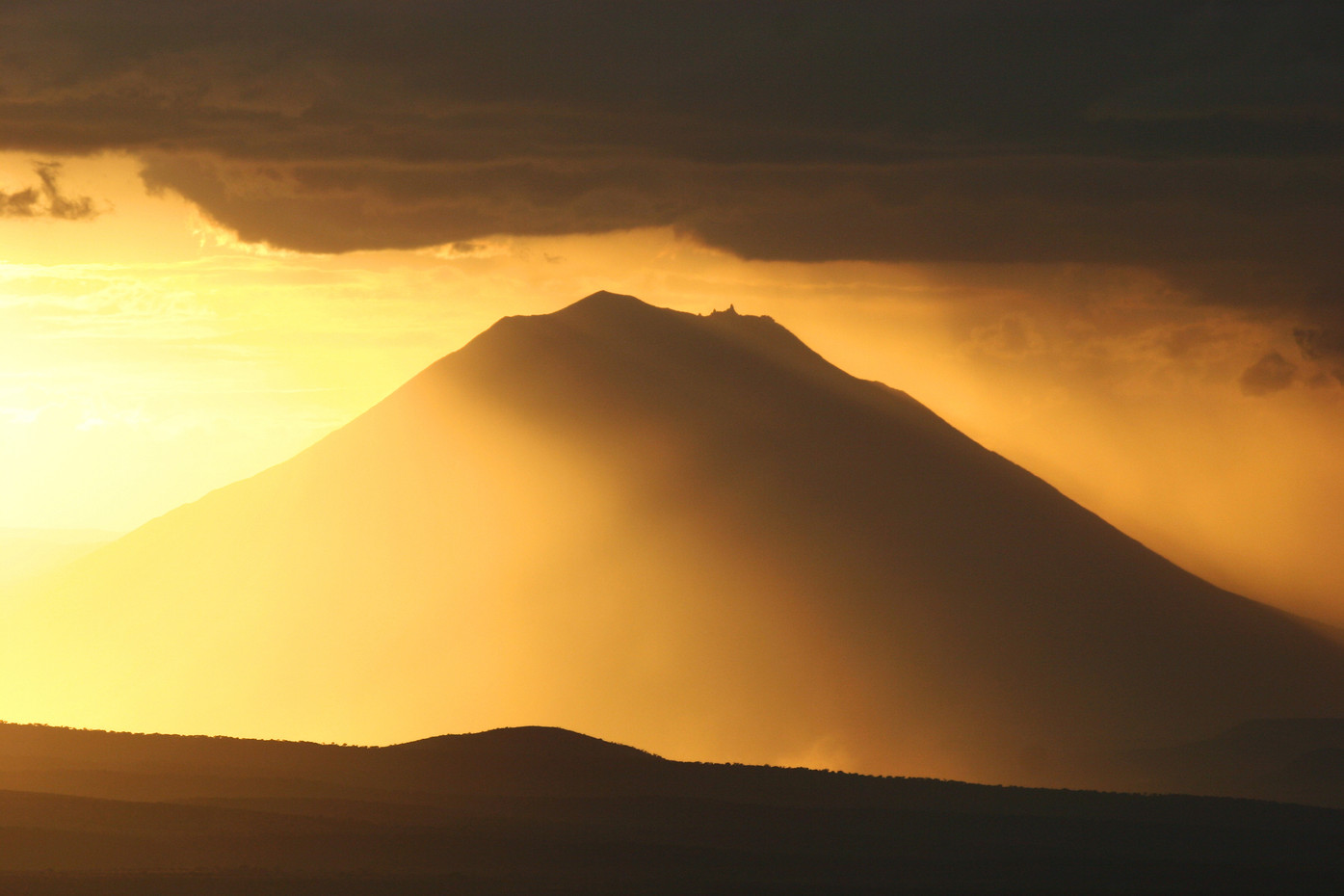 Sunset over Oldonyo Lengai active volcano, Tanzania