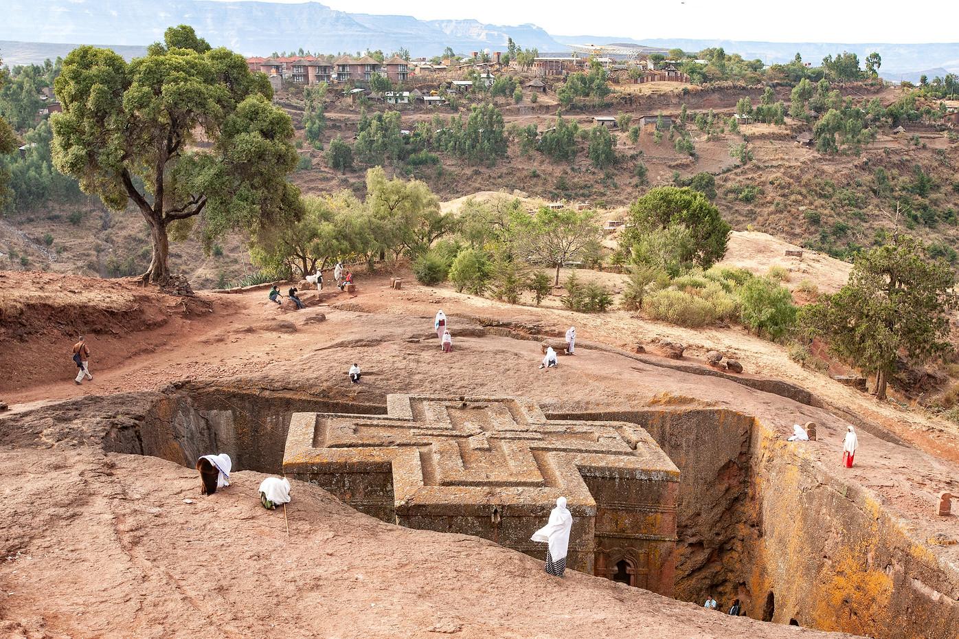 St George rock-hewn church in Lalibela, Ethiopia