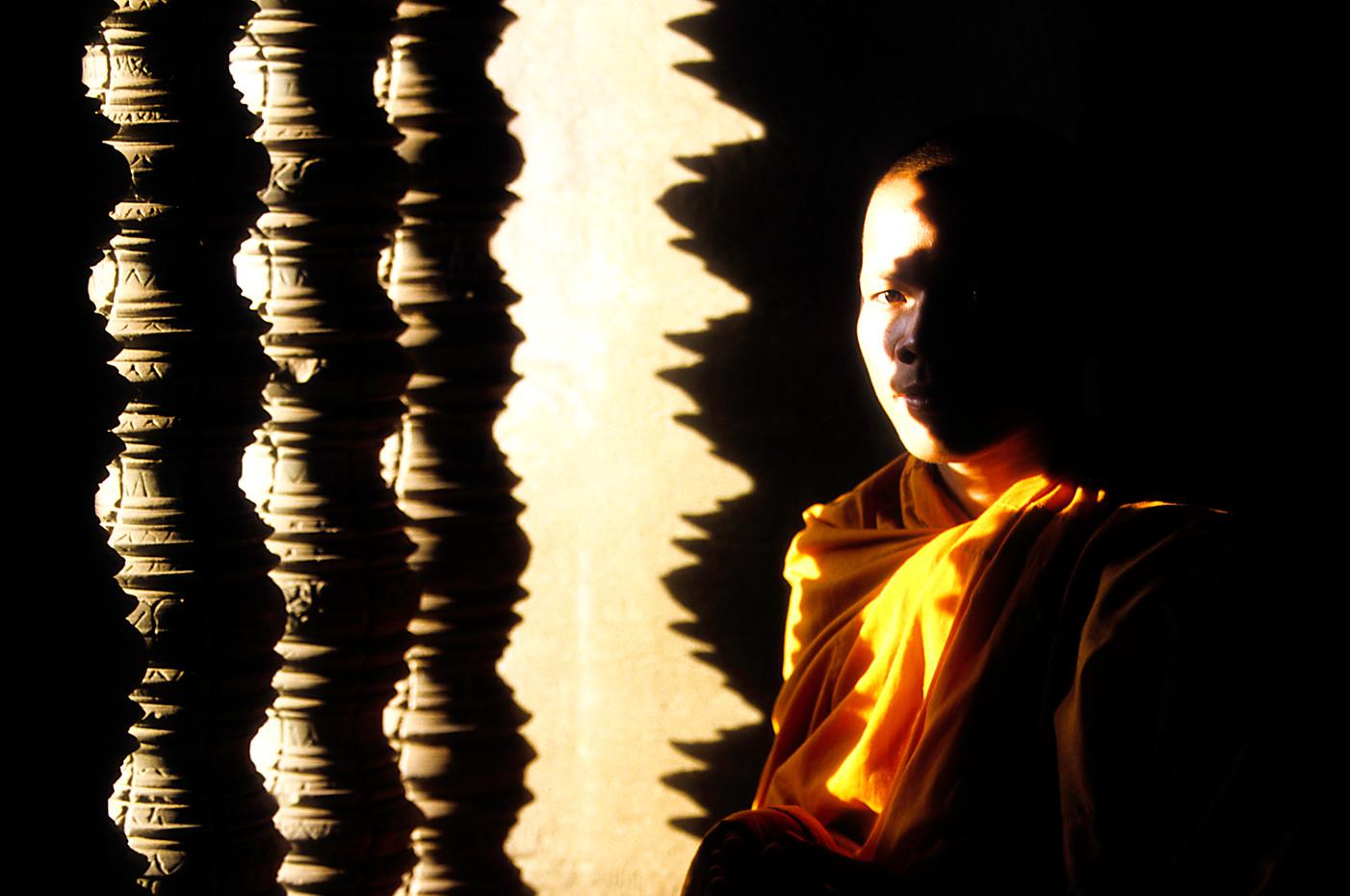 Novive monk at Angkor Wat, Cambodia