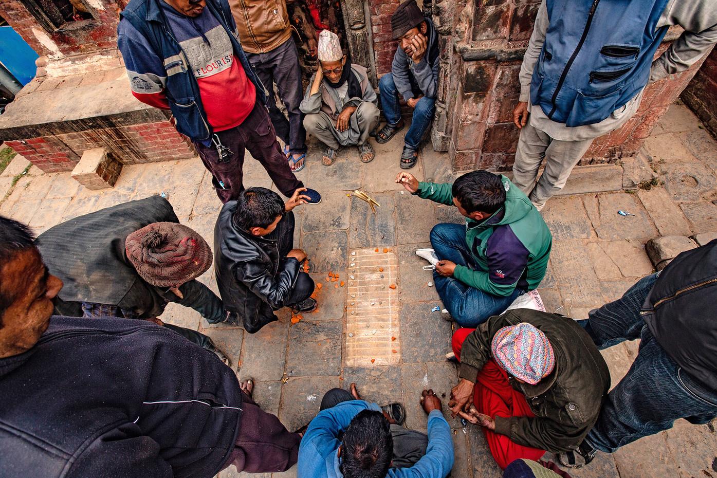 Nepalese street game in Kathmandu, Nepal