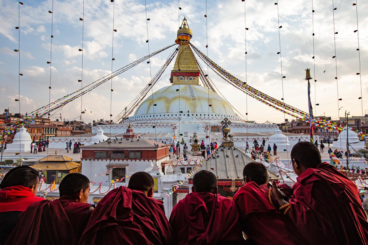 Monks at Boudhanath Stupa in Kathmandu, Nepal