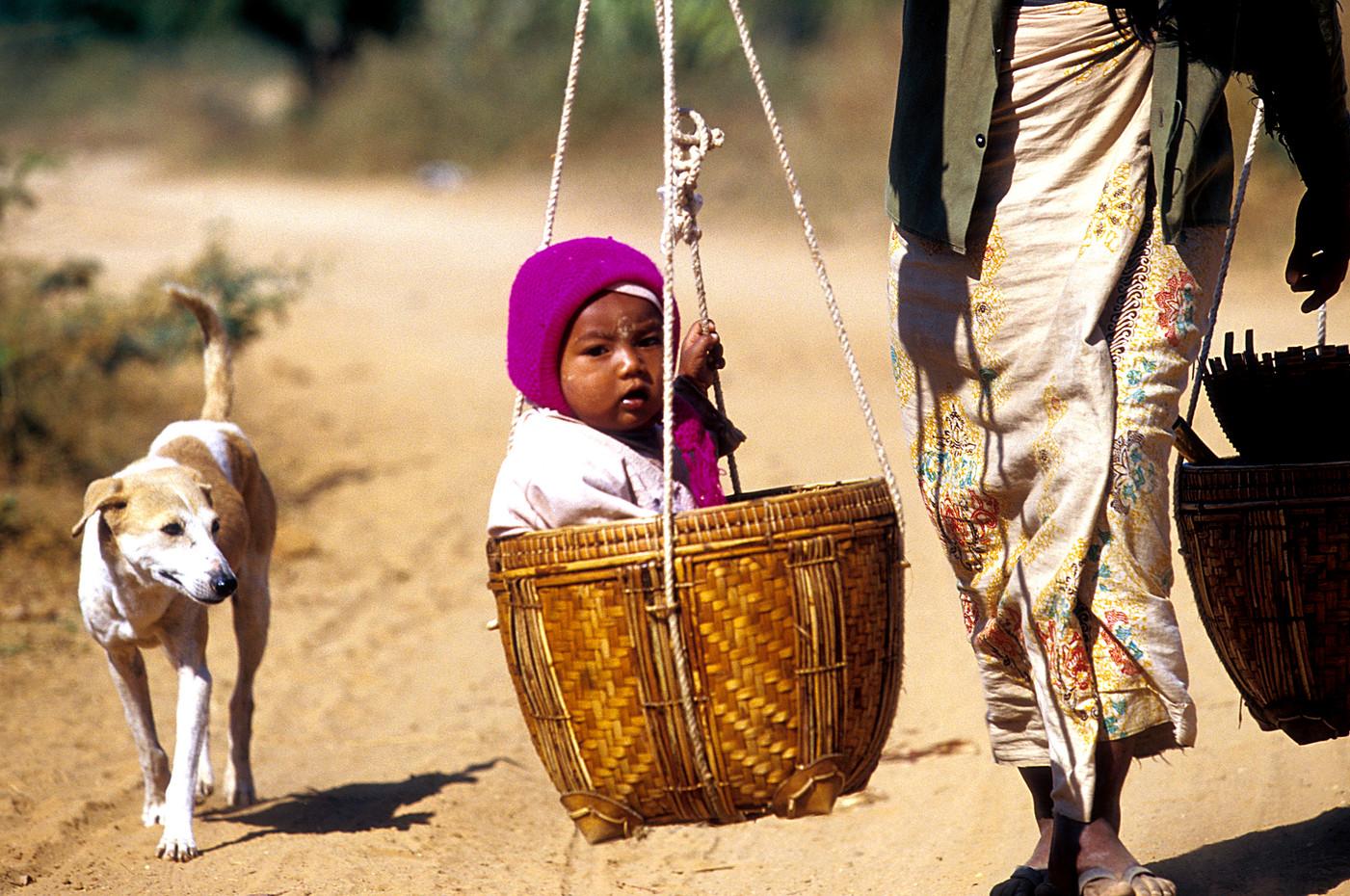 Mother, child & dog in Bagan, Myanmar