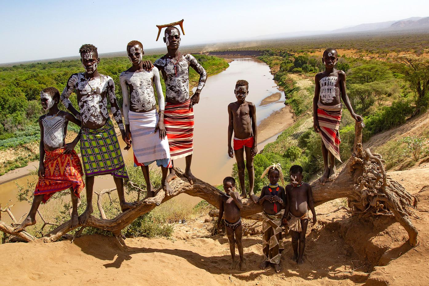 Karo children on the Omo River, Ethiopia